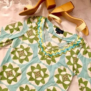 Boden Green & Blue Patterned Tunic